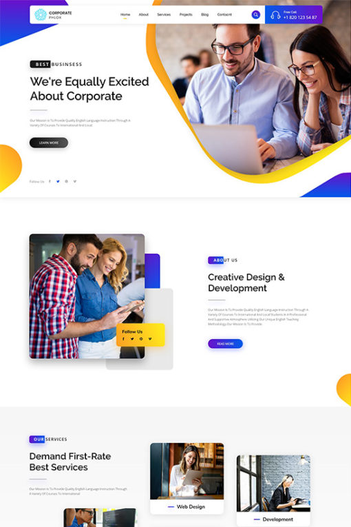 Business website design theme